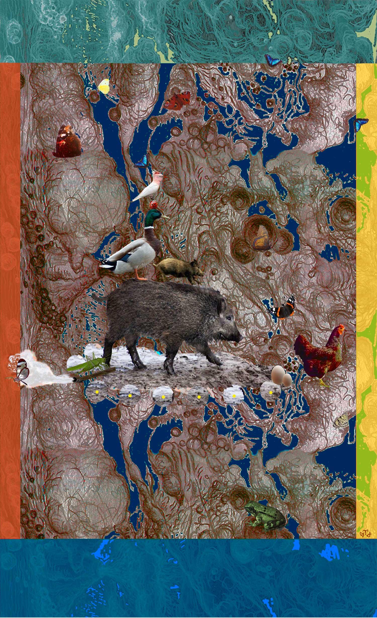 Geerten Ten Bosch, Zijden Zwijn / Silk Swine,                       print op zijde,