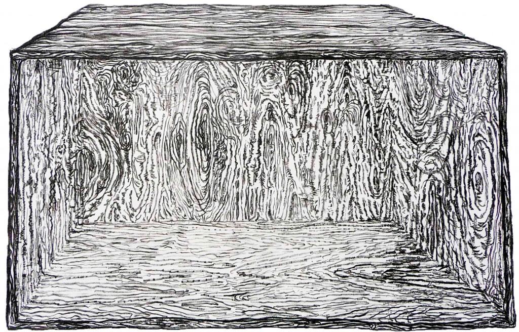 Geerten Ten Bosch, lege kist / empty box,                               litho, kunst, tekening, art, lithograph,