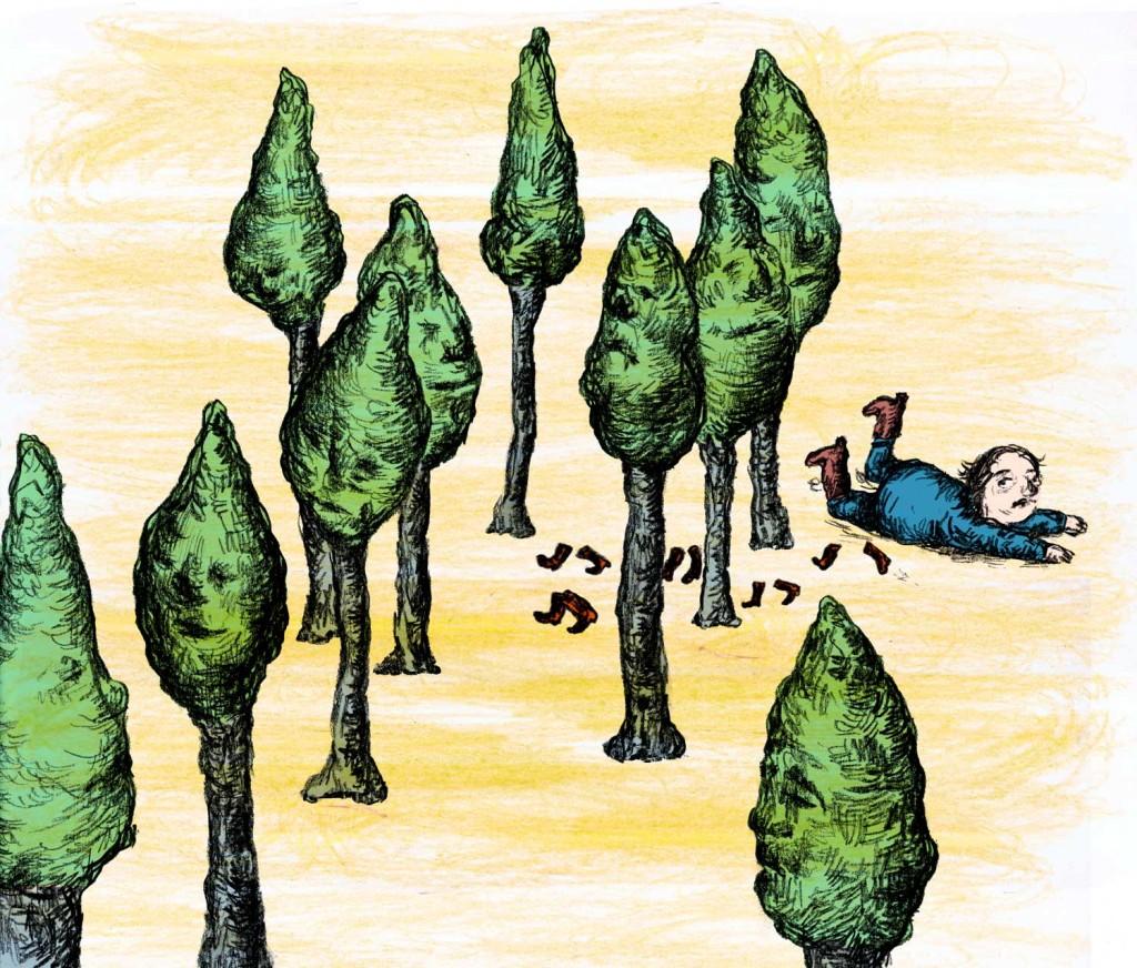 Geerten Ten Bosch, prints ,                               print, illustration, sale, illustratie Vogel in het bos uit De kleine laarsjes (Sprookjes van de planeet aarde)